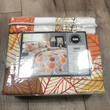Bella Home Bamboo King Sheets Set Orange White Print