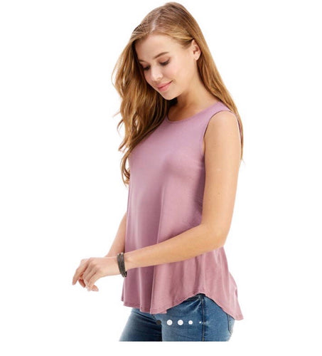 Casual Sleeveless Top- Dark Mauve