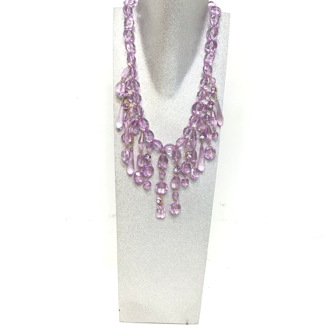Sarina lilac and gold color crystal design necklace