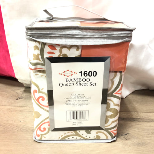 Bamboo Queen Sheet Set Orange White Moca Print
