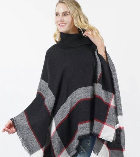 Plaid Turtleneck Sweater Poncho-Black/Red