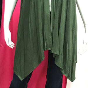 Plus Size Women's Vest Sleeveless Flyaway Cardigan - Army Green