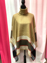 Plaid Turtle Neck Sweater Poncho-Beige