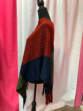 Color Block Tasseled Poncho - Red/Blue