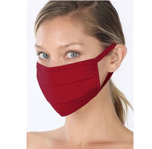Pleated Cotton Fabric Mask- Dark Burgundy