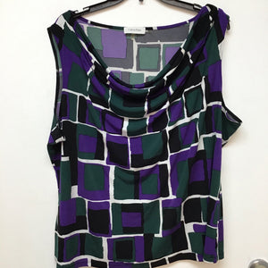 Calvin Klein green black and purple print sleeveless top size 2X