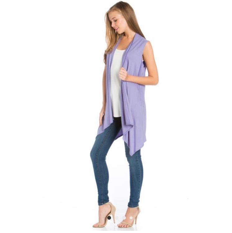 Sleeveless Open Front Cardigan- Antique Mauve