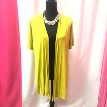 Short Sleeve Open Front Cardigan- Lime