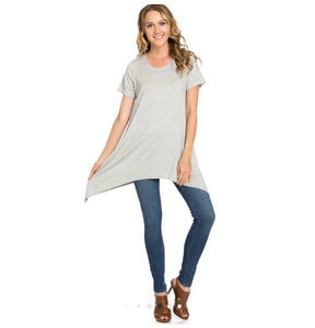 Piko Short Sleeve Tunic- Heather Gray