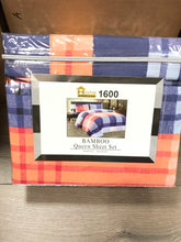 Bamboo Queen Sheet Set 1600 Series - Plaid Orange Blue