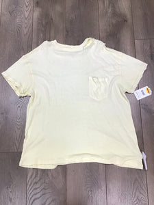 Free People Cotton Lucky cold -shoulder distressed T-shirt yellow size Small
