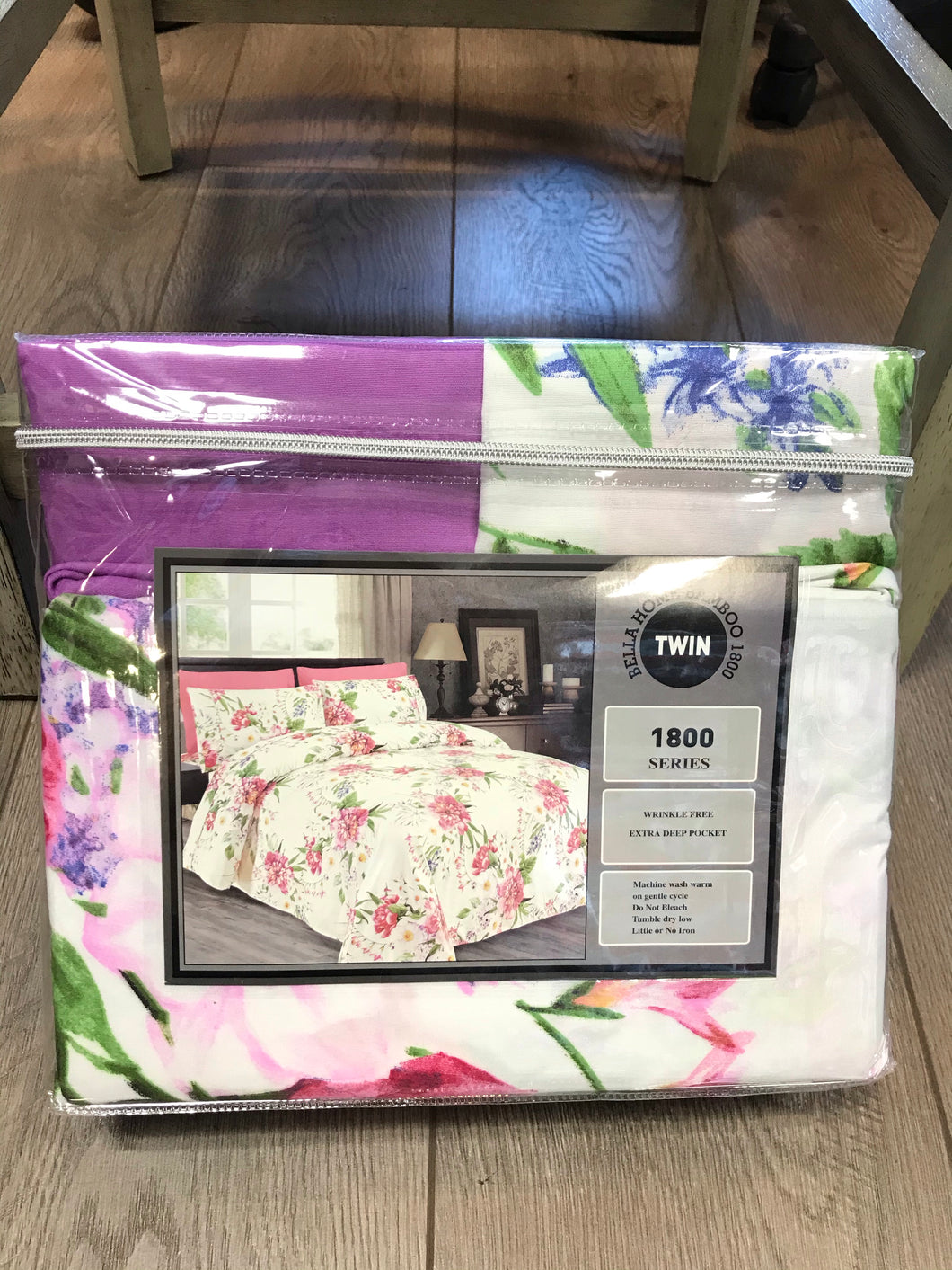 Twin Sheets Bella Home Bamboo 1800 Series Purple White Pink Flower Print