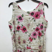 Capallo beige sleeveless top with pink flowers size L