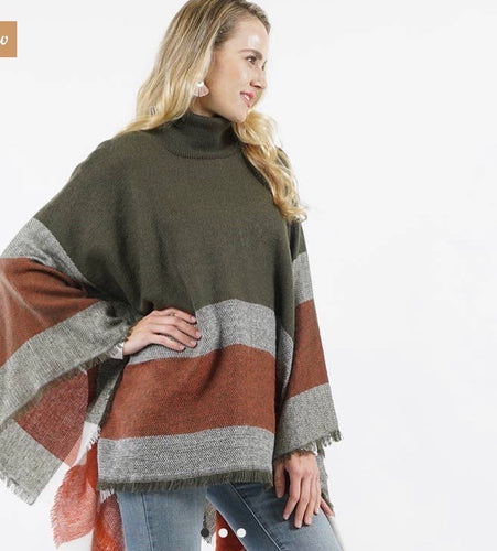 Plaid Turtle Neck Sweater Poncho-Olive