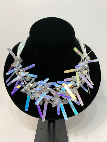 Sarina Holographic/Beaded Necklace