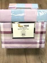 Bamboo Queen Sheet Set 1600 Series - Plaid Lavender Light Blue