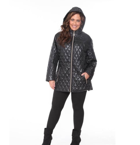 White Mark Winter Collection Plus Size Puffer Coat Black