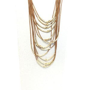 Sarina multi layered copper and gold color necklace