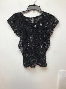 Must Have black lace top with white floral design size S