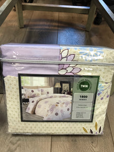 Twin Sheets Bella Home Bamboo 1800 Series Beige Lavender light blue print