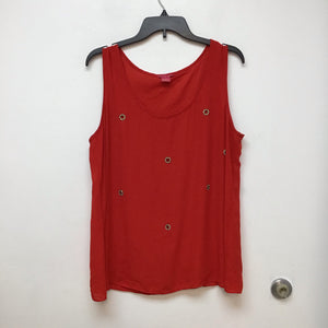 Sunny Leigh sleeveless red top with gold circle designs in front size XL