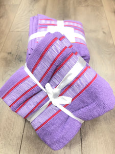 Bol Bom 3pc Bath Towel - Purple/Red