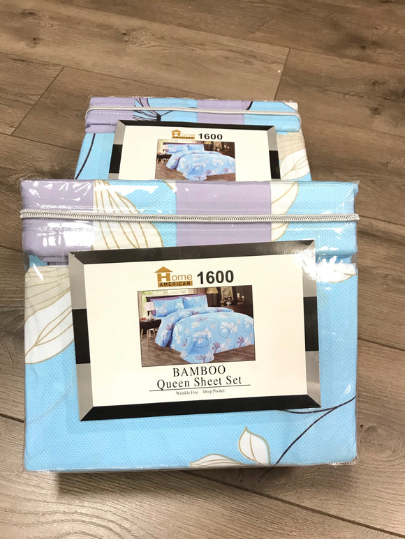 Bamboo Queen Sheet Set 1600 Series - Baby Blue Lavender Flower print