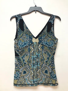 INC Sleeveless Top - Aqua Black Floral - Large