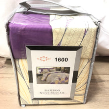 Bamboo Queen Sheet Set Lavender Beige Print