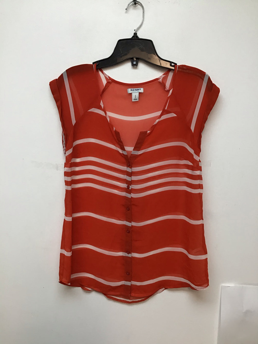 Old Navy orange with white stripes top size small