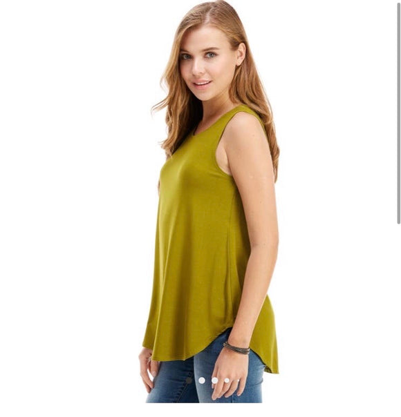 Casual Sleeveless Top- Apple Green