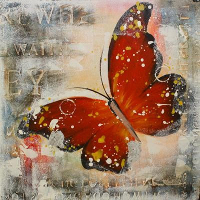 Tablou pictat manual Butterfly rosu, 40x40cm - naru.ro