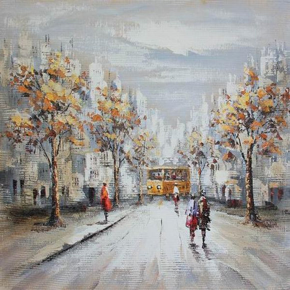 Tablou pictat manual Bus station, 60x60 cm - naru.ro