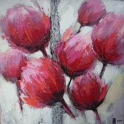 Tablou pictat manual Tulip roz B, 30x30cm - naru.ro