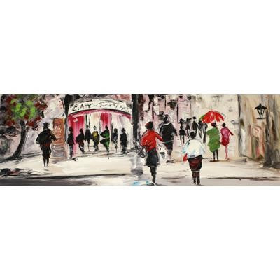 Tablou pictat manual Street Life A, 50x150cm