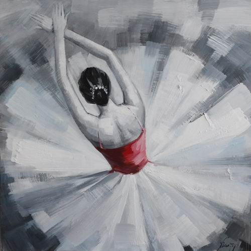 Tablou pictat manual Ballerina, 40x40cm - naru.ro