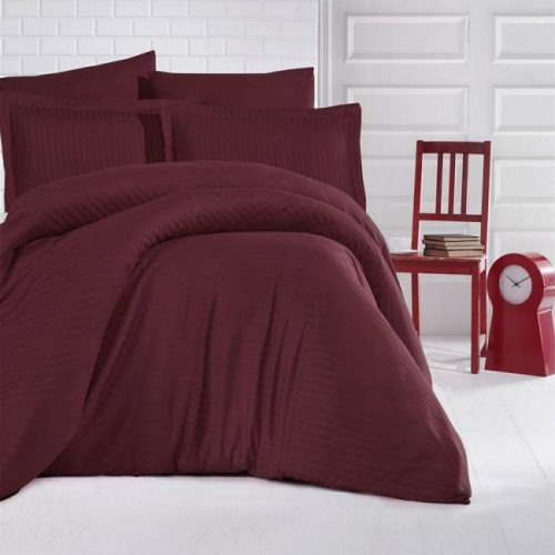 Lenjerie de pat Damasc Satin Color (BORDO)