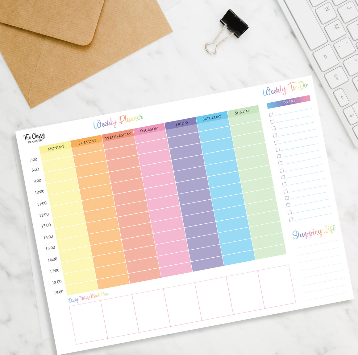 Colourful Weekly Desktop Planner Pad with 50 Tear Off Pages