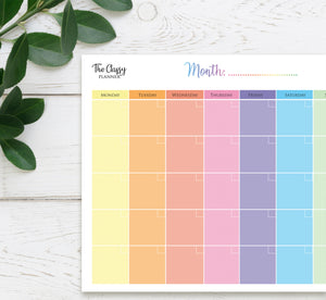 Colourful Monthly Desktop Planner Pad