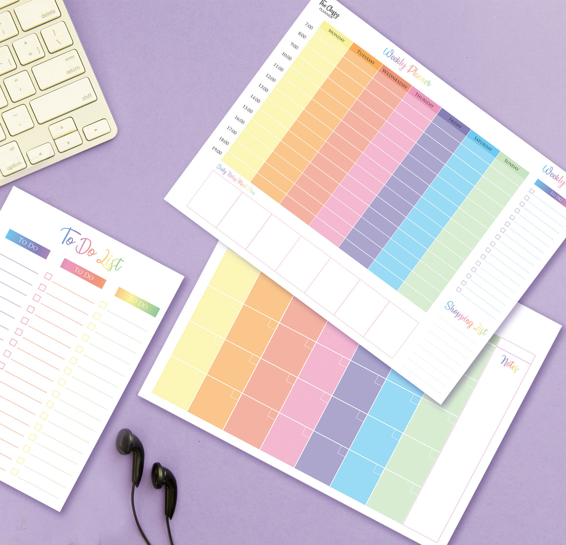 Colourful Weekly & Monthly Desktop Planner Pad Bundle with FREE To Do List Included