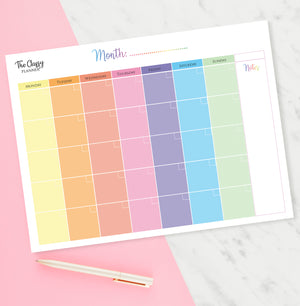 Colourful Monthly Calendar Desktop Planner Pad with 50 Tear Off Pages