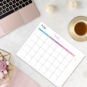 Monthly Calendar Desktop Planner Pad with 50 Tear Off Pages