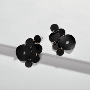 Black Abstract Geometric Multi-Circle Earrings