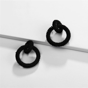 Black Beaded Double-Loop Earrings