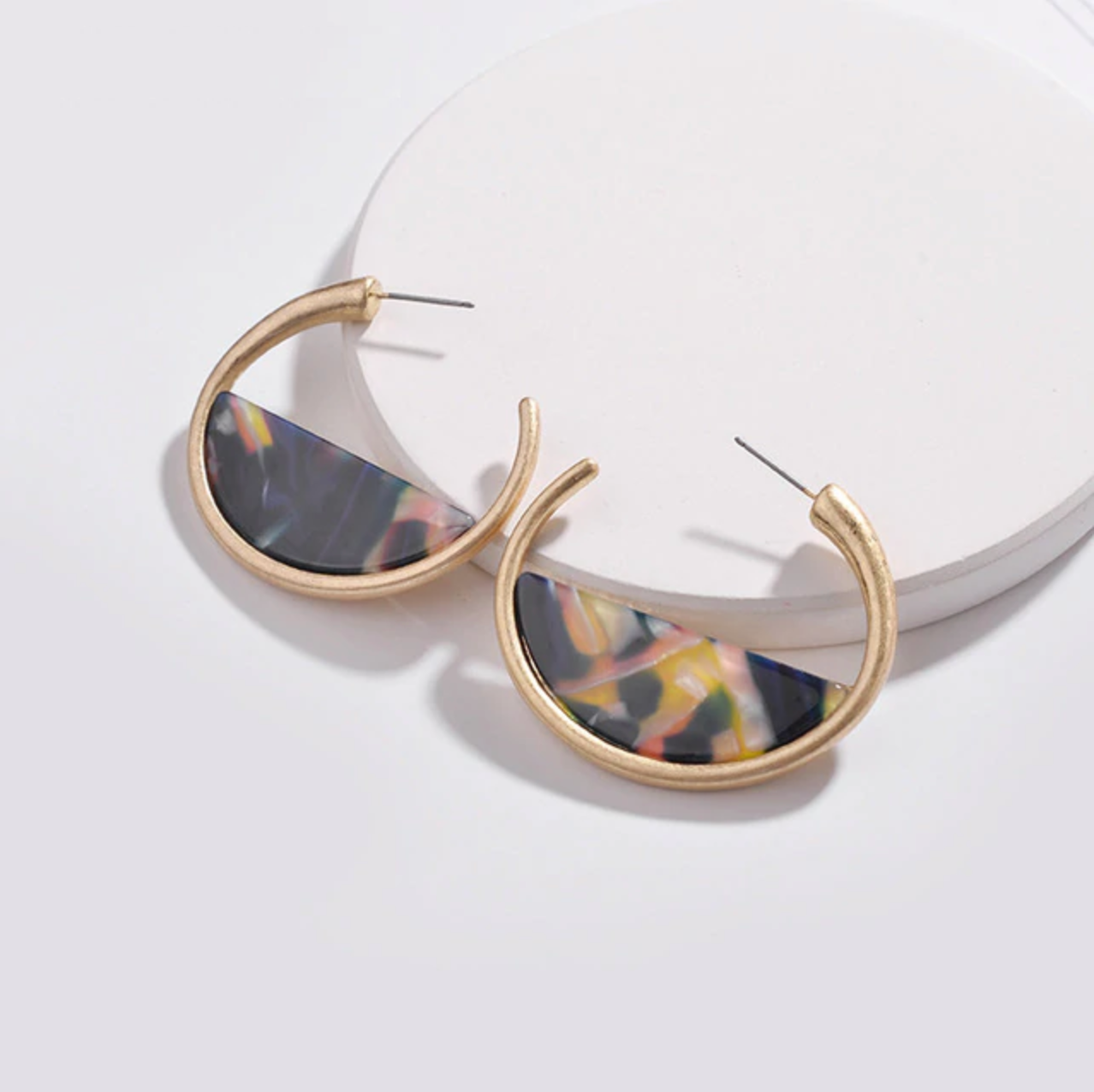 Black Sliced Acrylic & Gold Hoop Earrings