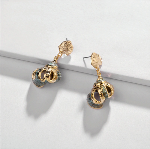 Gilded Conch Spiral Seashell Earrings