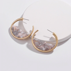 Grey Sliced Acrylic & Gold Hoop Earrings