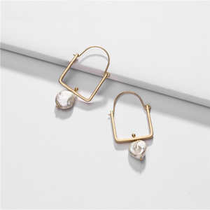 Irregular Pearl Square-Hoop Earrings