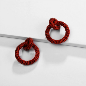 Red Beaded Double-Loop Earrings
