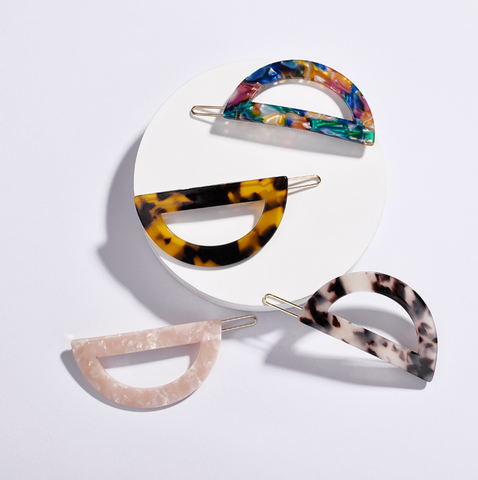Semi-Circle Acrylic Hair Clips